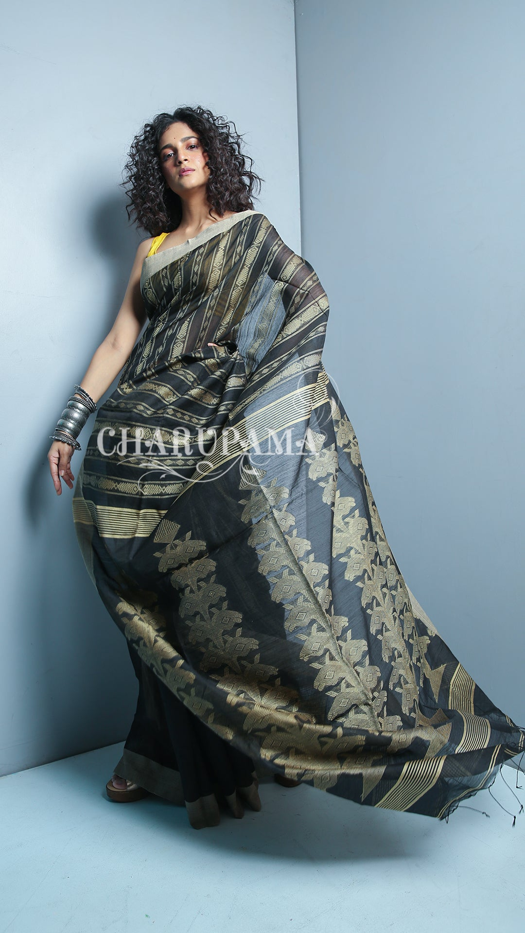 Color Beige Is Neutral, Calm, And Relaxing And With Black Combination This Saree Represents Warm Color With A Cool Color. This Handwoven Blended Cotton Saree Is Great Pick For Summer And Autumn Season. - Charupama