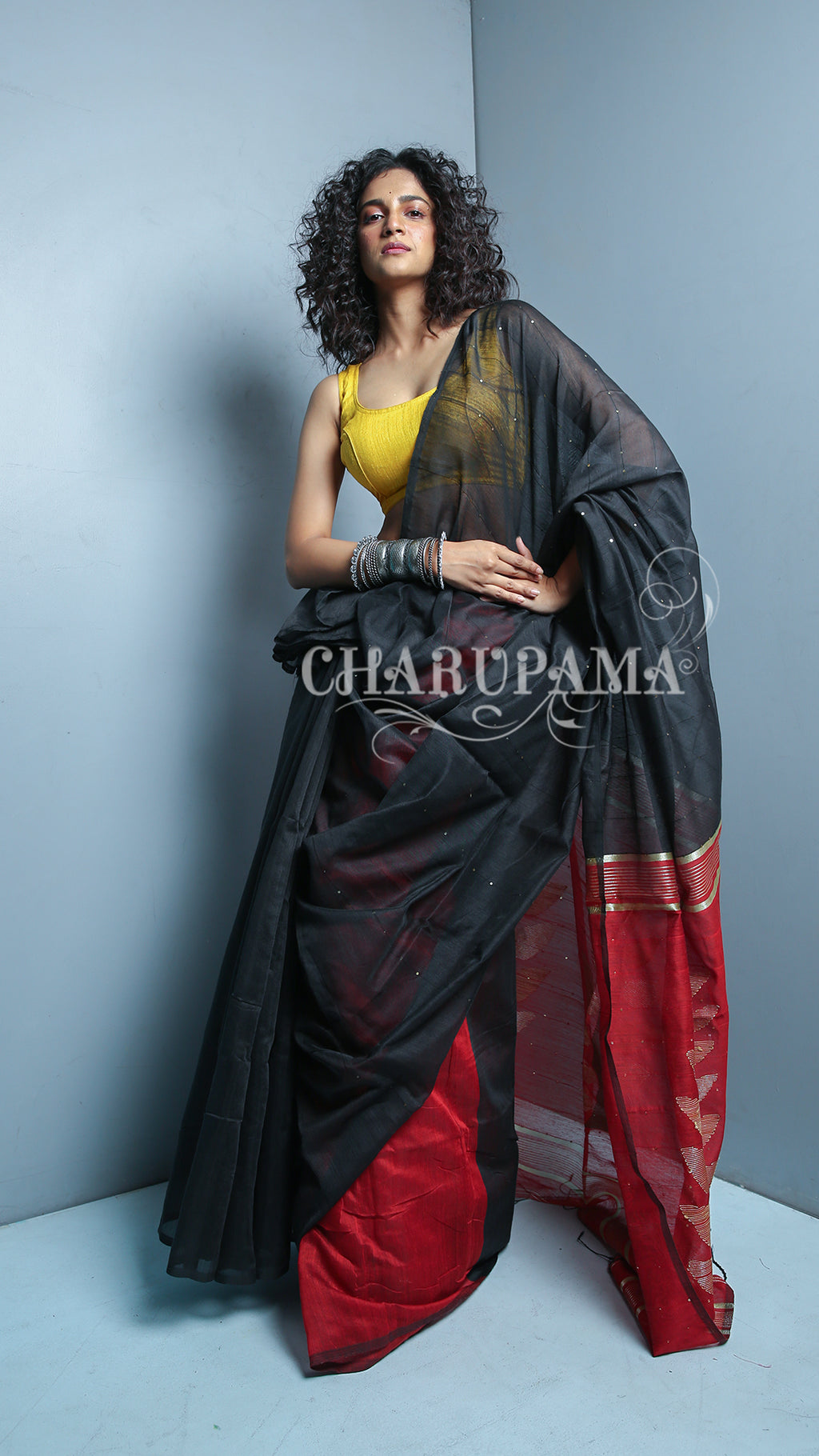 Black And Red Blended Silk Saree With Sequin And Leaf Weaved Pallu - Charupama