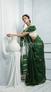 Bottle Green Blended Cotton Saree With Silver Zari Polka Dot Weaving