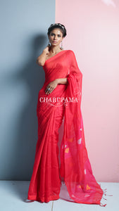 Purple And Red Dual Tone Striped Blended Cotton Saree
