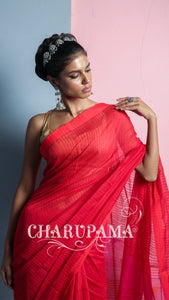 Candy Red Striped Weaving Blended Cotton Saree With Geometric Pallu