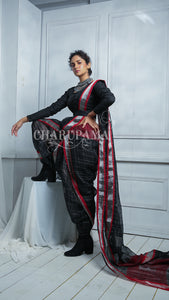 Charcoal Black Pure Check Linen Saree With Box Weaved Body And Pallu