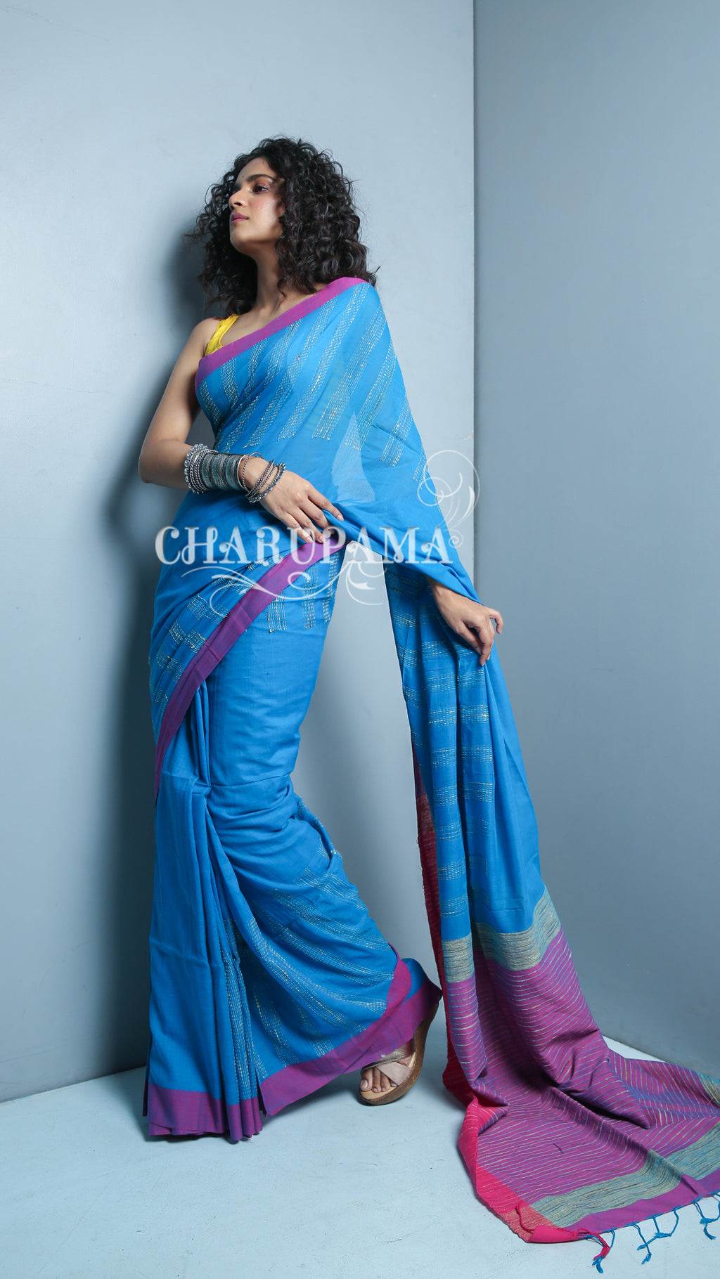 Blue Pure Cotton Saree Is Made In Handloom And The Fabric Cotton Is Gives You Comfort With Style. Add On Feature Is Ghicha Weaving In Border And Pallu.