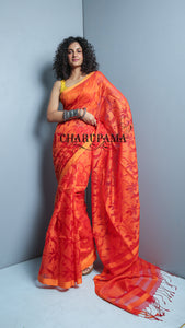 Orange Shaded Floral Weaving  Pure Matka Saree Is Elegant And Perfect For Festival And Any Other Ceremony - Charupama
