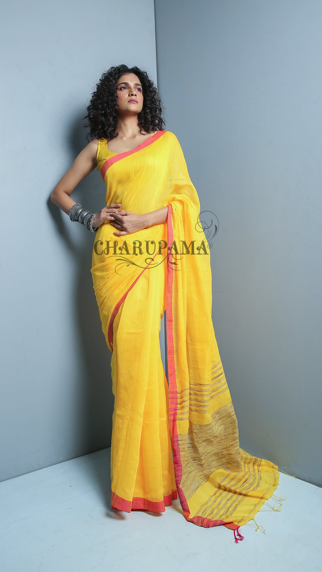 Golden Yellow  Blended Cotton Saree With Magenta Border  Has The Comfort Factor For Daily Wear And Easy Home Care. Ghicha Pallu Is An Added Feature.