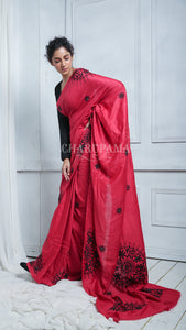 Kathibad Hand Stitched Crimson Red Cotton Silk With Mirror