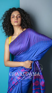 Lapis Blue Pure Matka Silk Saree With Purple Weaving