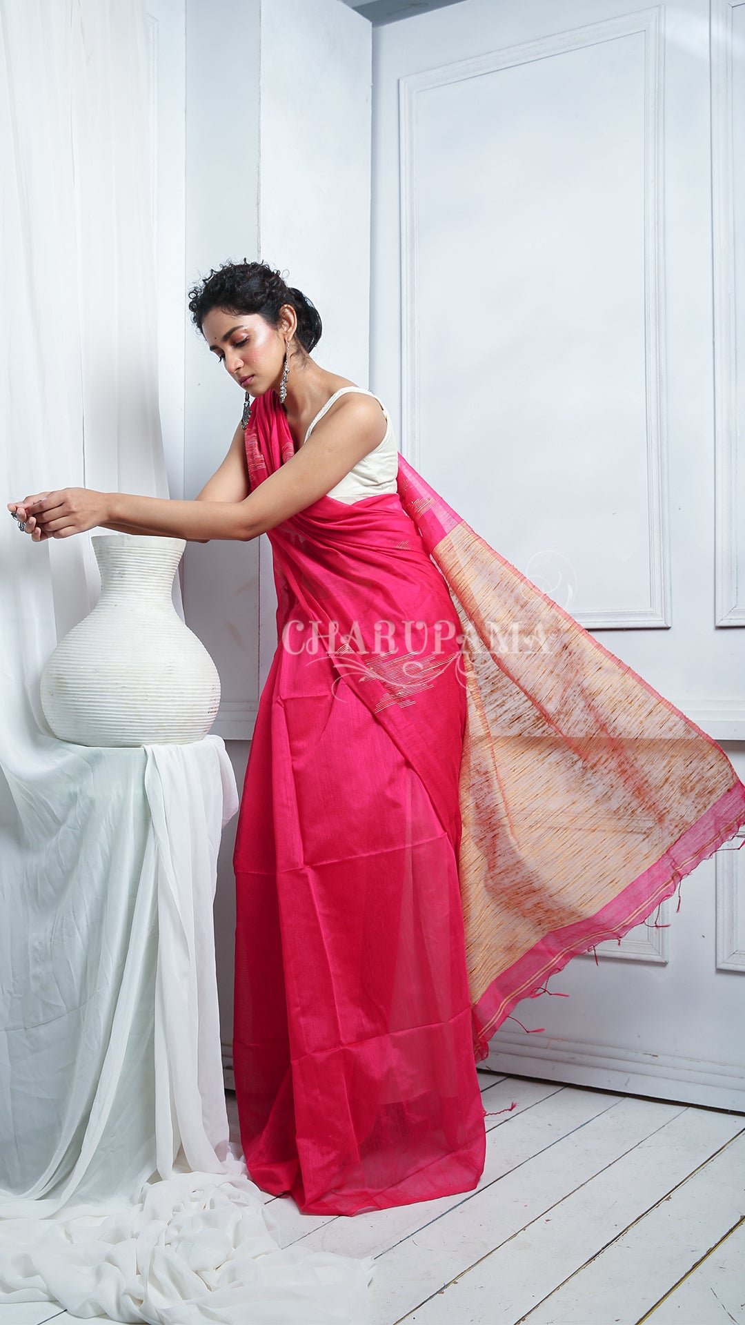 Magenta Pink Blended Silk With Ghicha Ikkat Weaving And Pallu