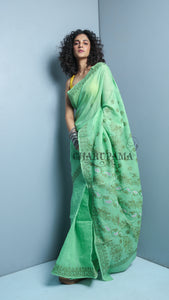 Mint Green Blended Cotton Chikan Saree - 1