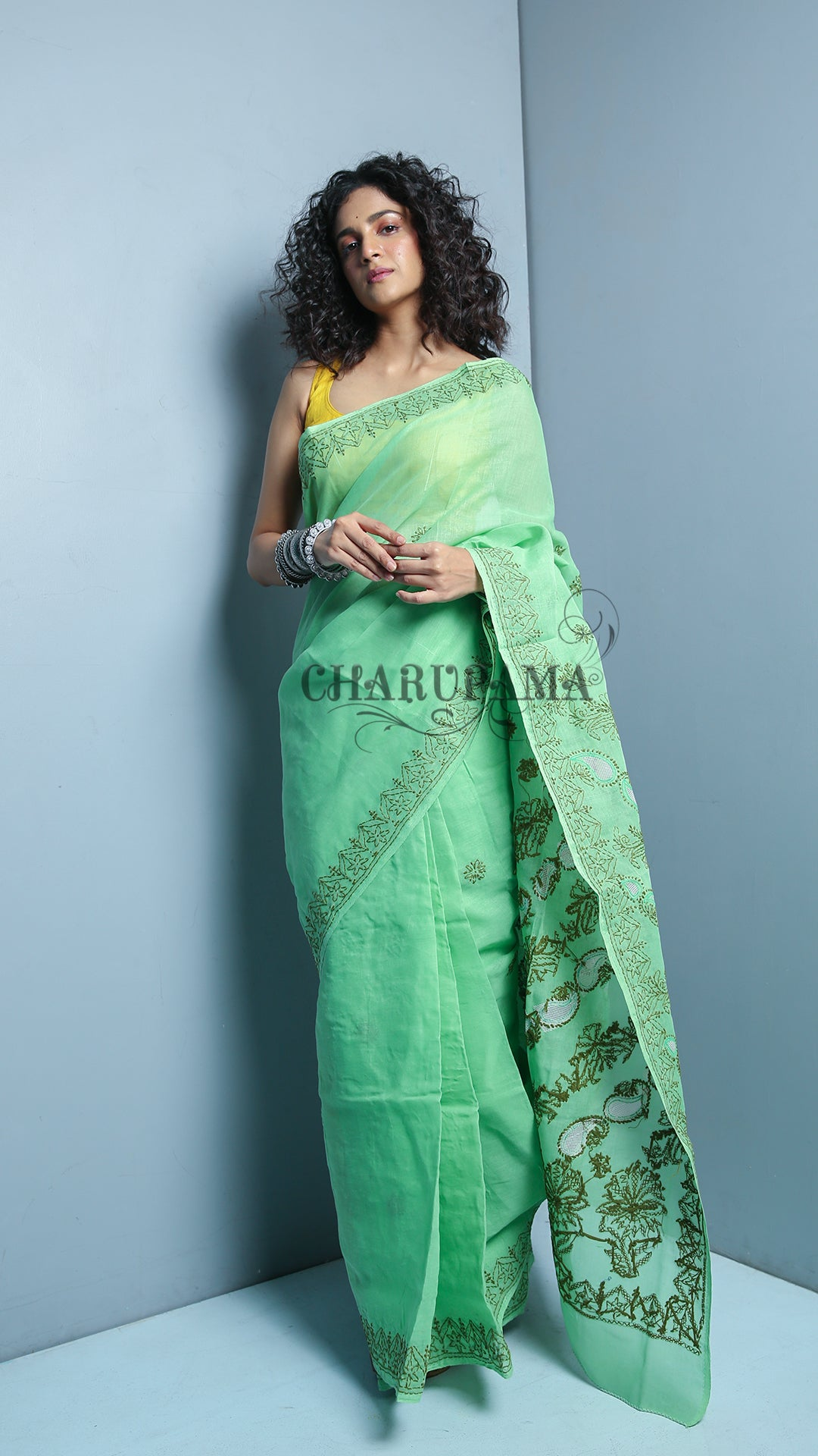 Mint Green Blended Cotton Chikan Saree - 2