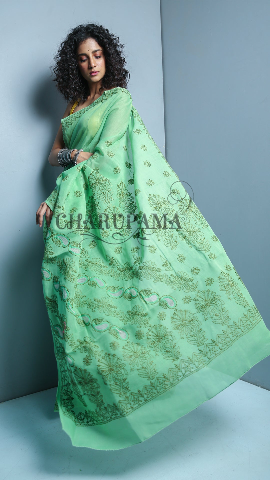 Mint Green Blended Cotton Chikan Saree - 3