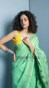 Mint Green Blended Cotton Chikan Saree - 4