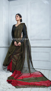 Moss Green Blended Cotton Saree Weaved With Red Stripes Has The Look Of Silk Saree. Light Weight, Daily Use, Comfortable