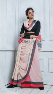 Off White Pure Cotton Saree With Dual Border And Small Motif All Over Weaving