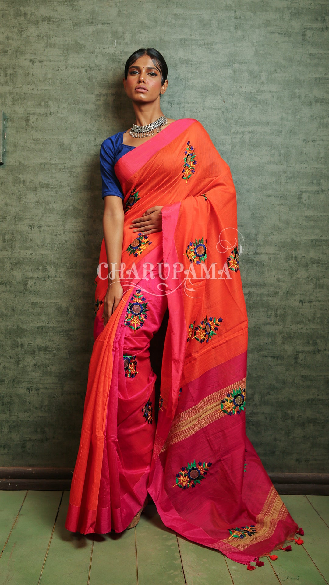 Orange And Shocking Pink Blended Silk Cotton Saree With Mirror Embroidery