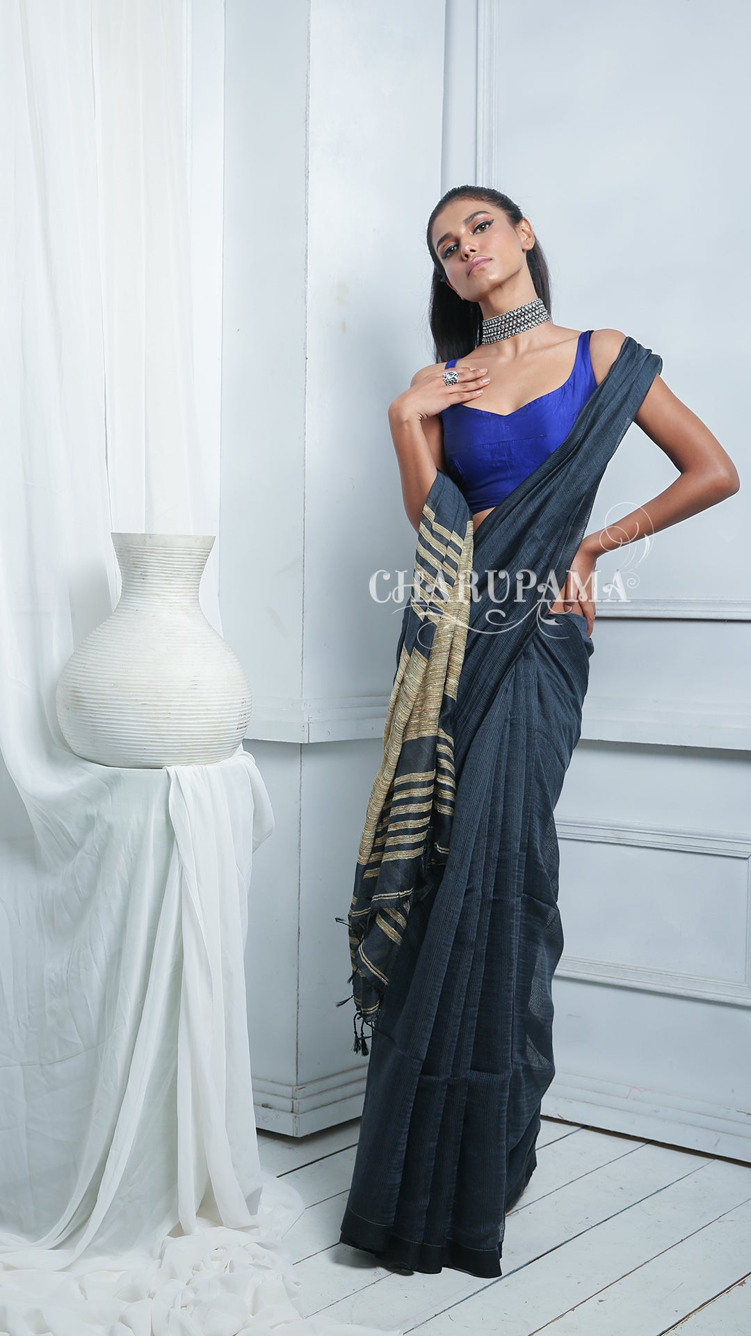 Unusual Shade Of Blue Blended Cotton Saree Brings You Comfort With Style. Perfect For Office, Daily Wear And Party Wear. Easy To Wash And Home Care. - Charupama