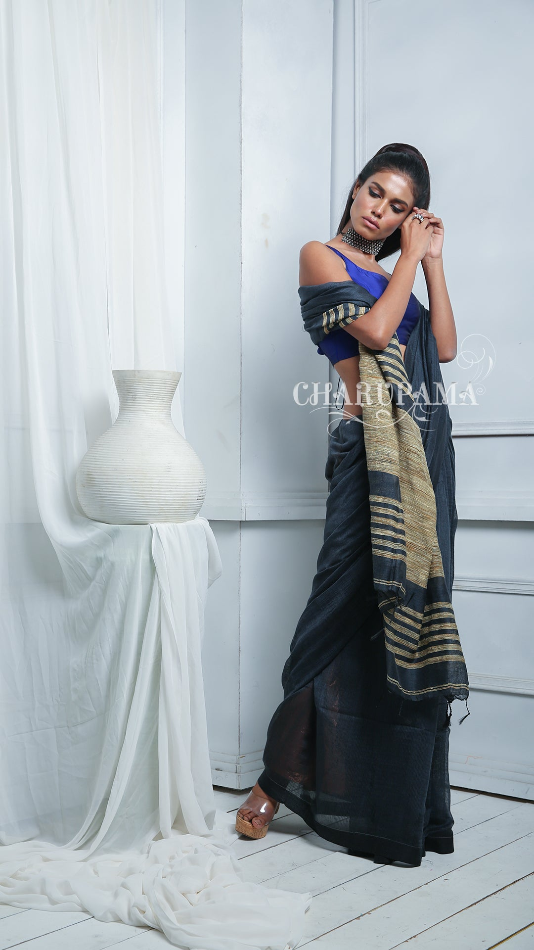 Unusual Shade Of Blue Blended Cotton Saree Brings You Comfort With Style. Perfect For Office, Daily Wear And Party Wear. Easy To Wash And Home Care.