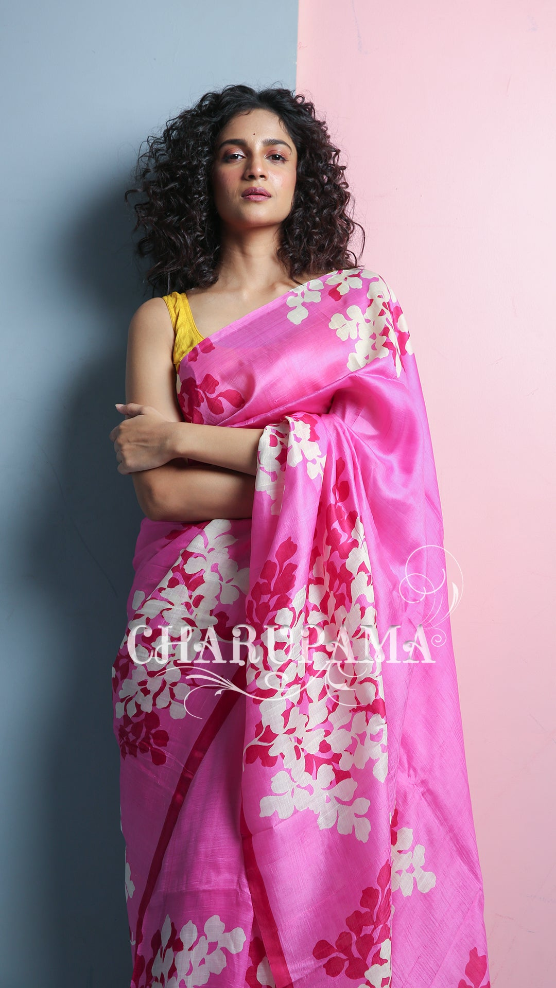 Purely Hand Oven Fine Quality Silk From Bengals Own Murshidabad Districts. Very Light Weight Saree Combined In Baby Pink And Red Floral Hand Print. Perfect For All Season.