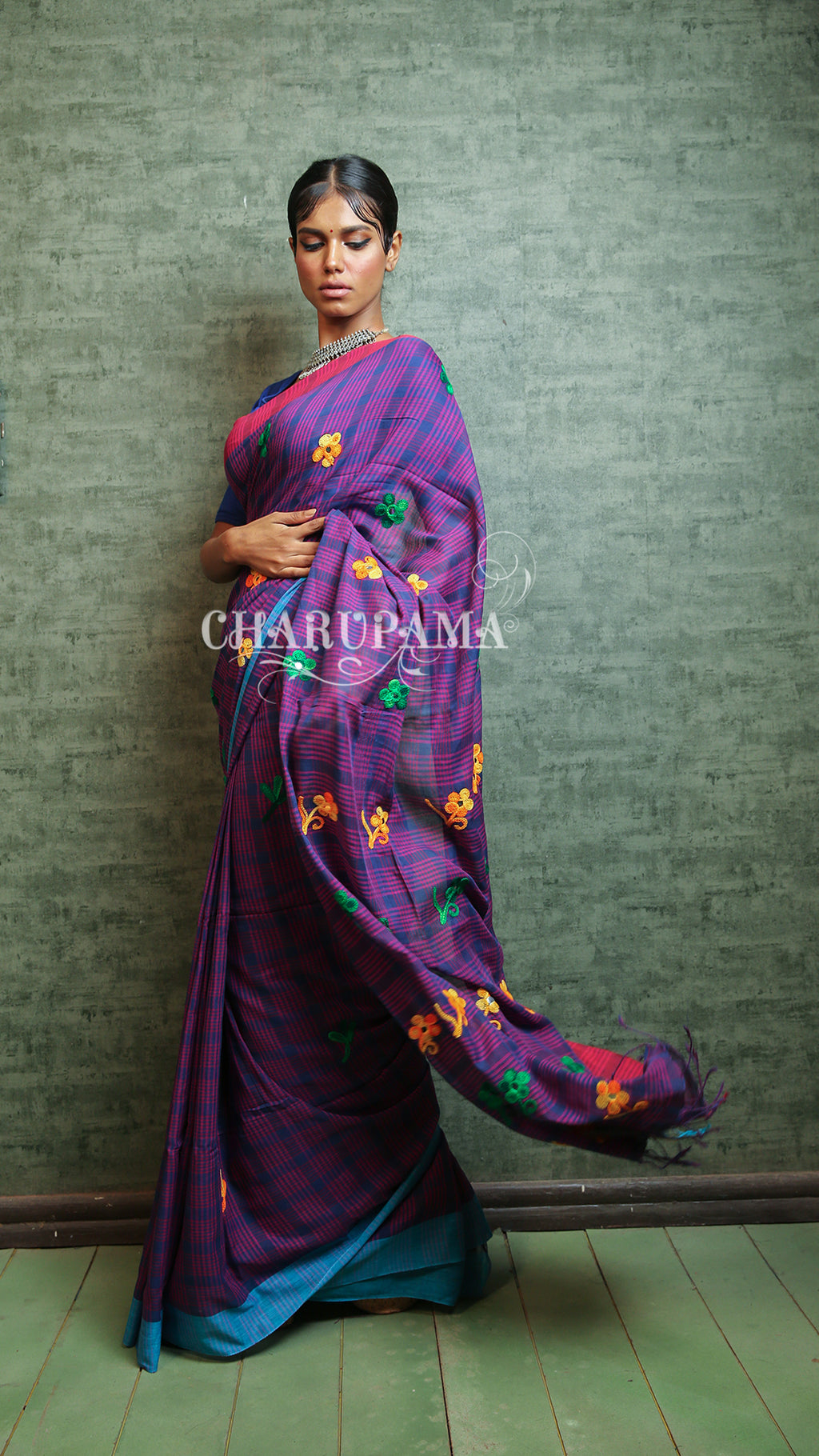 This Handloom Cotton Checkered  Saree In Beautiful Blue And Purple Combination Is Simply Gorgeous. - Charupama