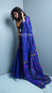 Blended Silk Saree Is Now Best In Trend. Blue Shade Is Warm And Purple Dot Weaving Creats A Simple But Elegant Look.