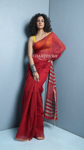 Rusty Red Noil Silk Sarees Have Both Charismatic Look  And Comfort Characteristics. It Can Be Worn In All Seasons & At All Occasions.
