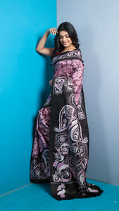 Mauve Hand Batik Pure Silk With Black Border And Pallu