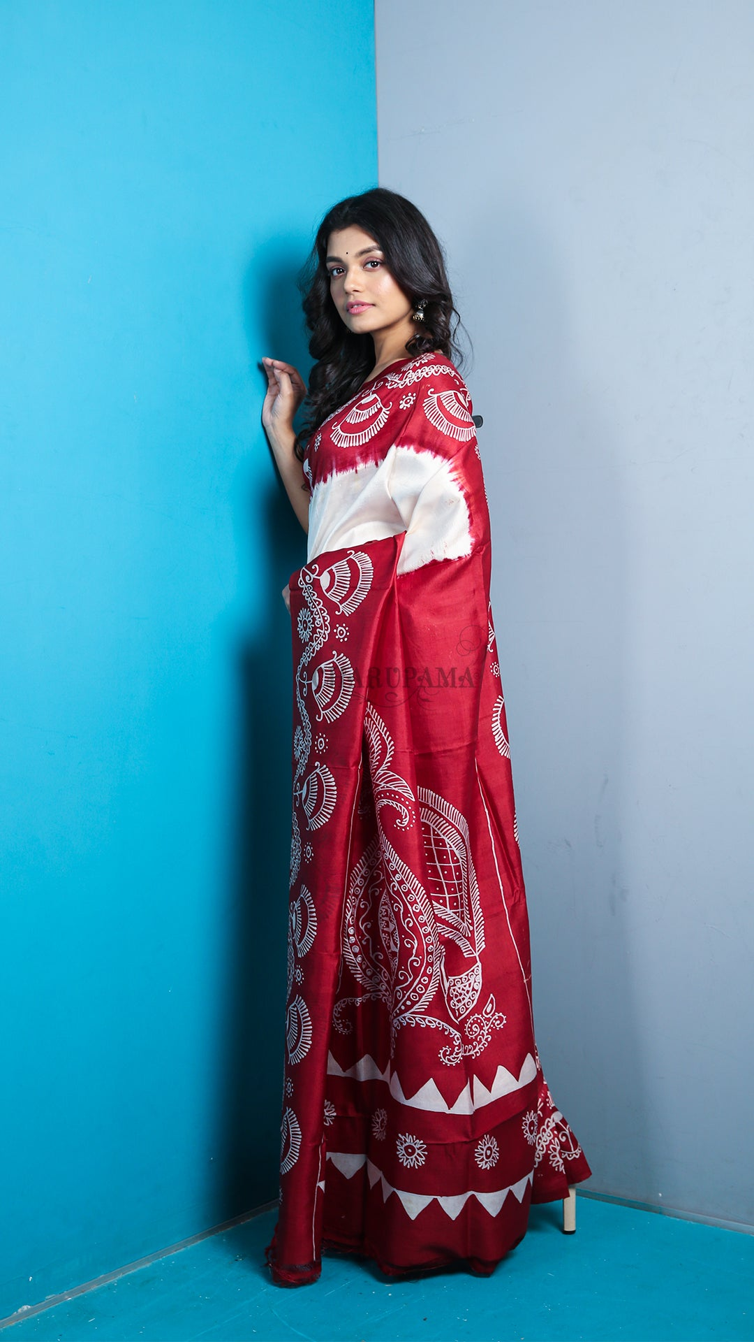 Half Milk White And Half Red Katan Silk With Batik Print And Pallu