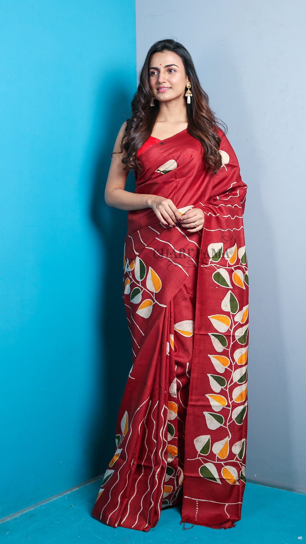 Deep Maroon Pure Silk Saree With Leaf Batik