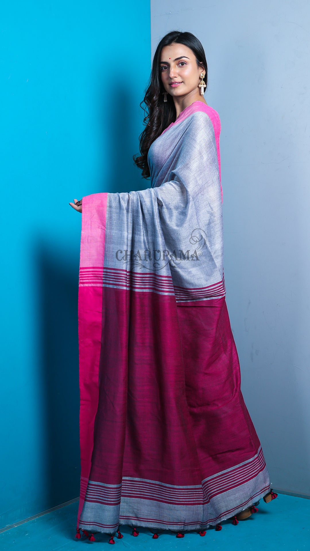 Steel Grey And Magenta Pallu-Border Khadi Cotton With Pompom