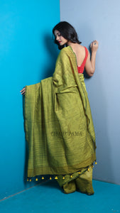Olive Green Khadi Cotton Saree With Pompom