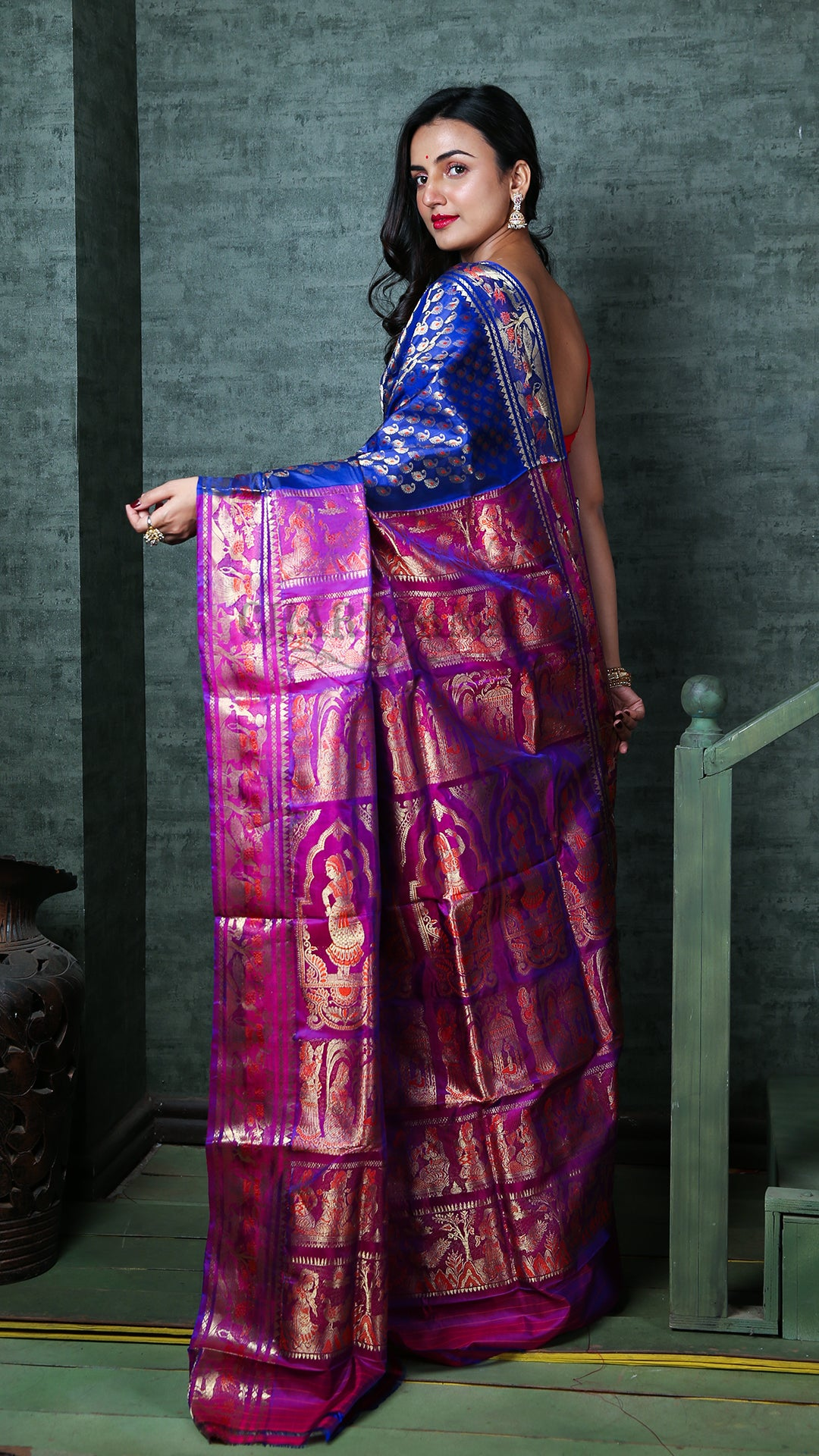 Navy Blue And Raspberry Purple Katan Swarnachari With All Over Zari Work