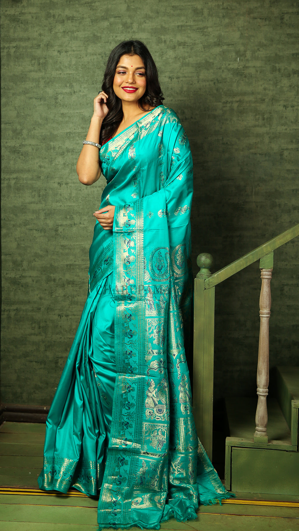 Cyan Blue Swarnachari With Silver Zari Figure Motif Weaving