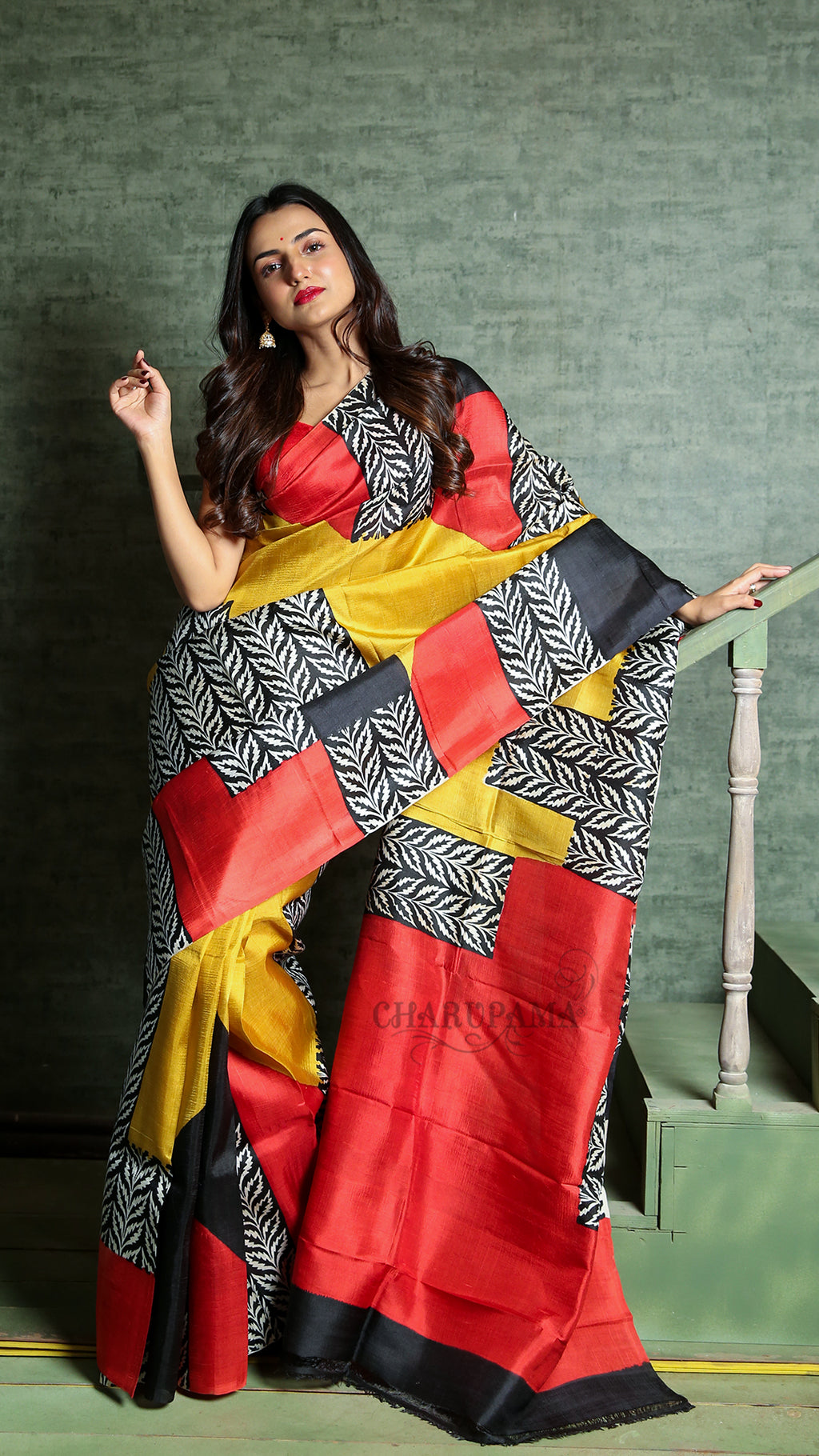 Yellow Red And Black Printed Pure Silk With Pallu