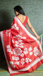 Vermilion Red Pure Silk With White Rose Print