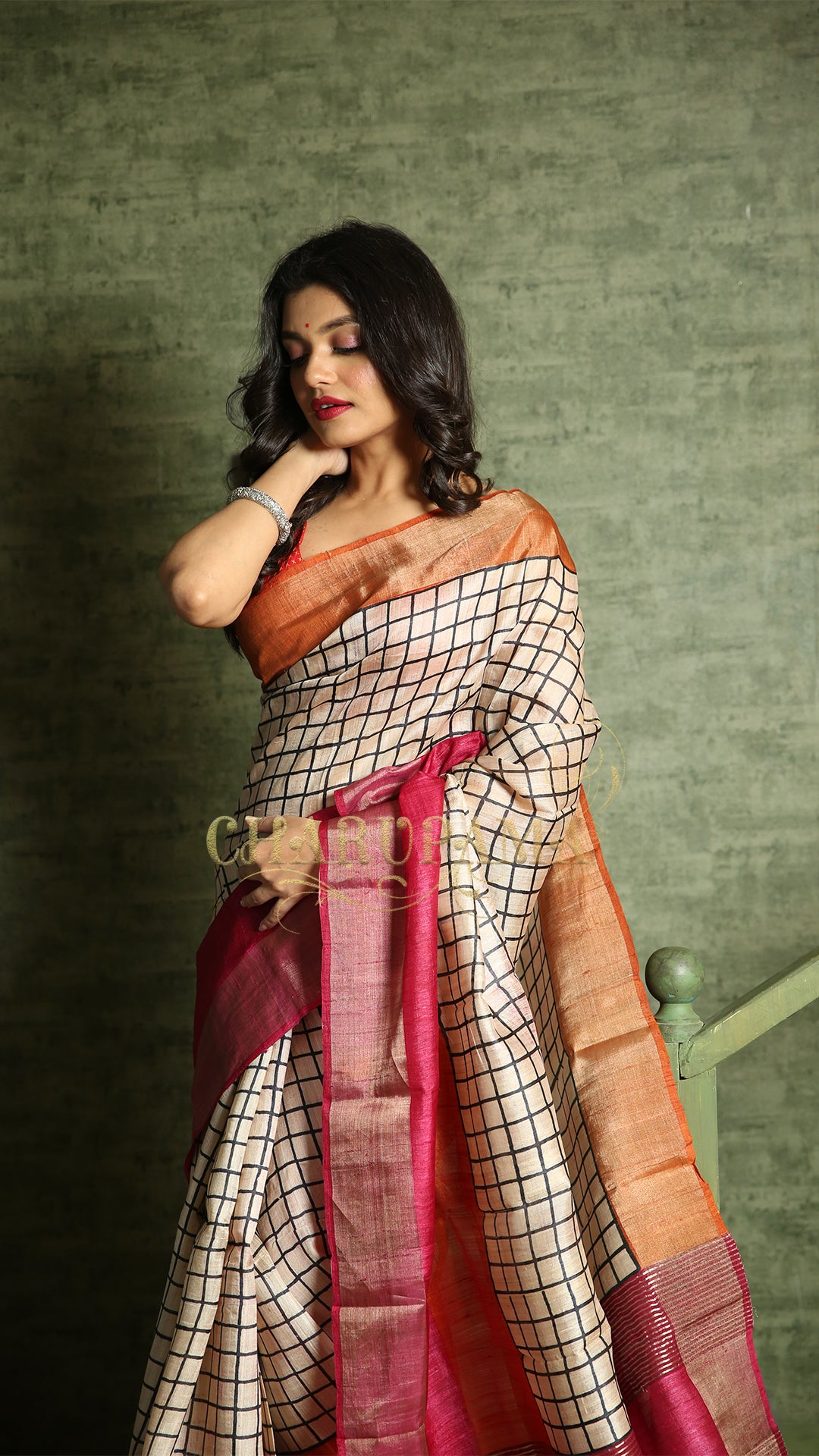 White Check Tussar With Orange And Magenta Border With Zari Pallu