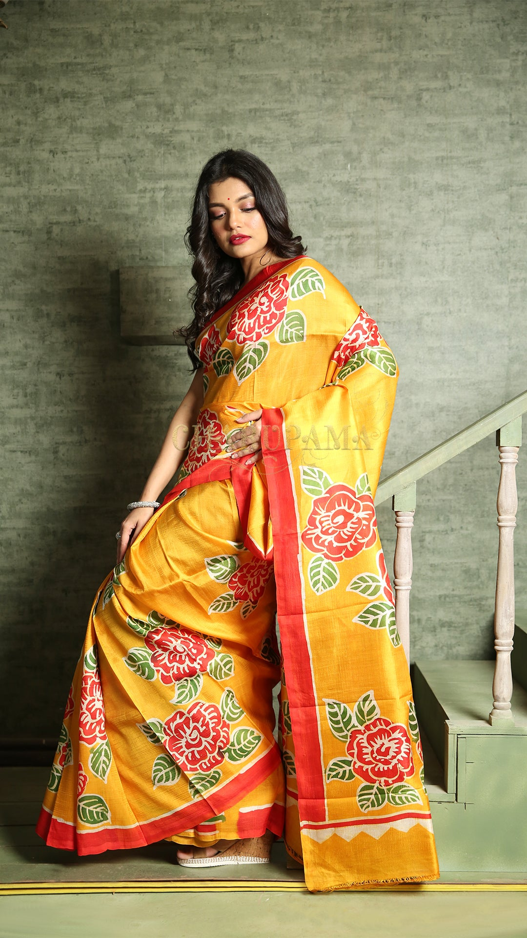 Canary Yellow Printed Batik Silk
