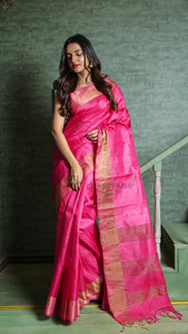 Candy Pink Tussar With Golden Zari Border