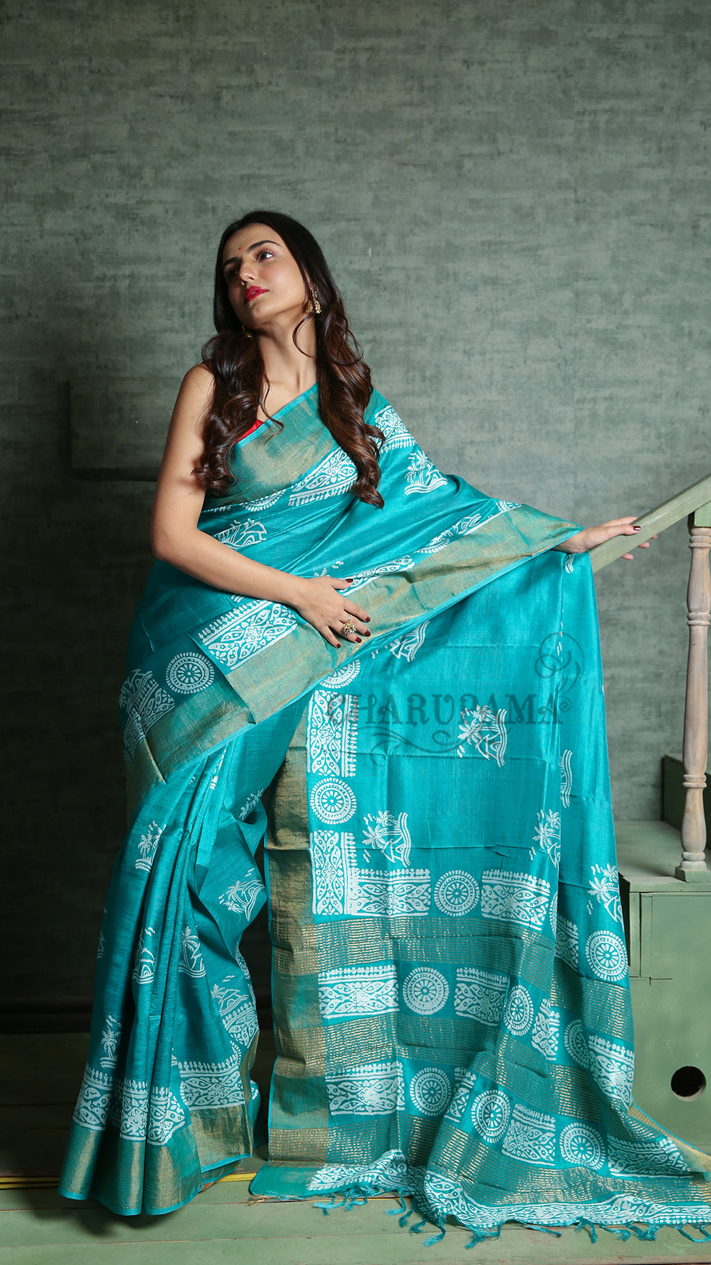 Cyan Blue Zari Border tussar With White Floral Print