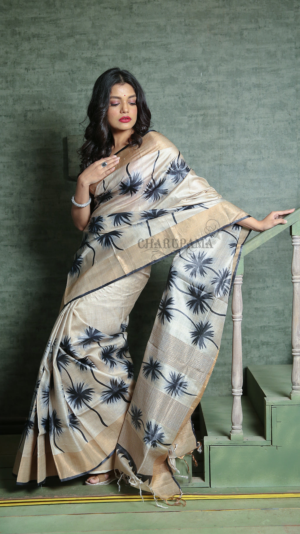 Pearl White Tussar With Black Floral Print And Zari Border