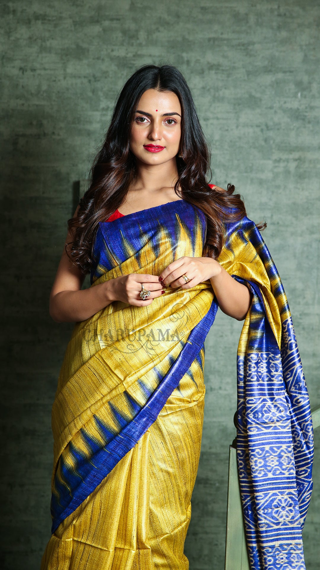 Golden Yellow And Blue Gheecha With Ikkat Print And Border