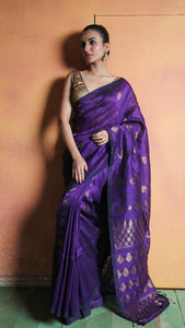 Violet Organic Linen With Zari Work And Pallu