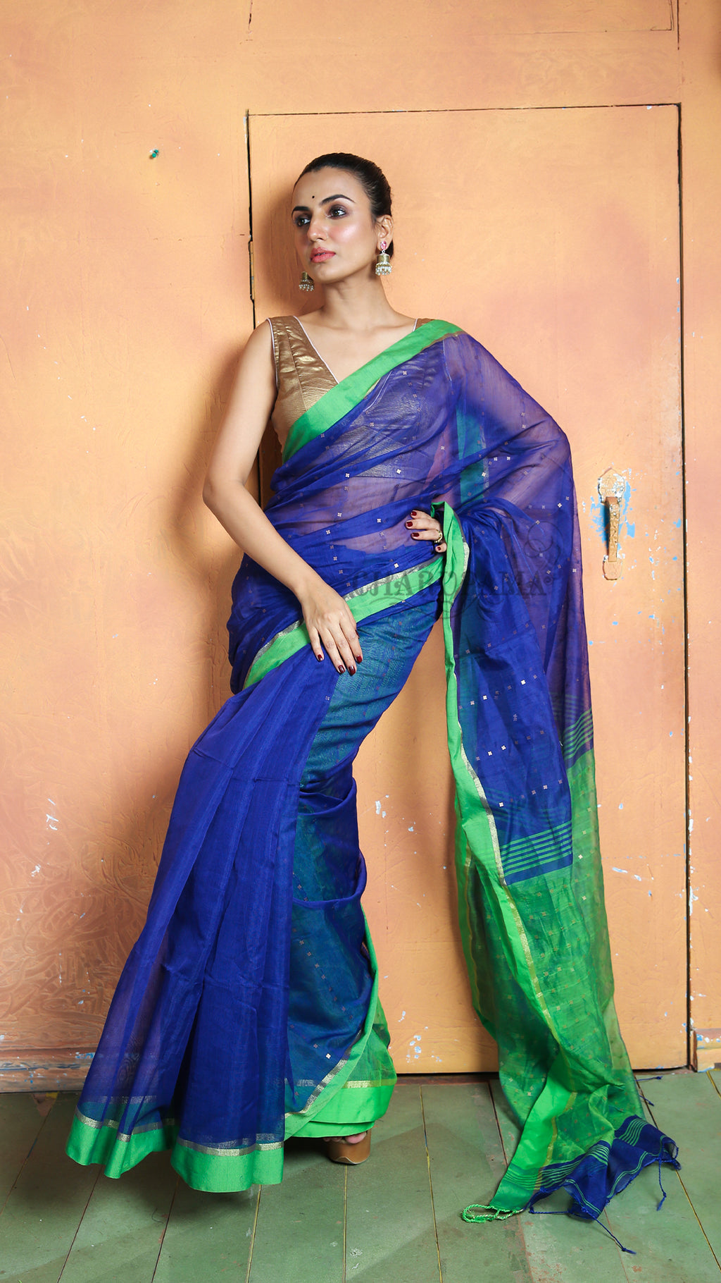 Parrot Green Sequined Blended Cotton Saree With Blue Border And Pallu