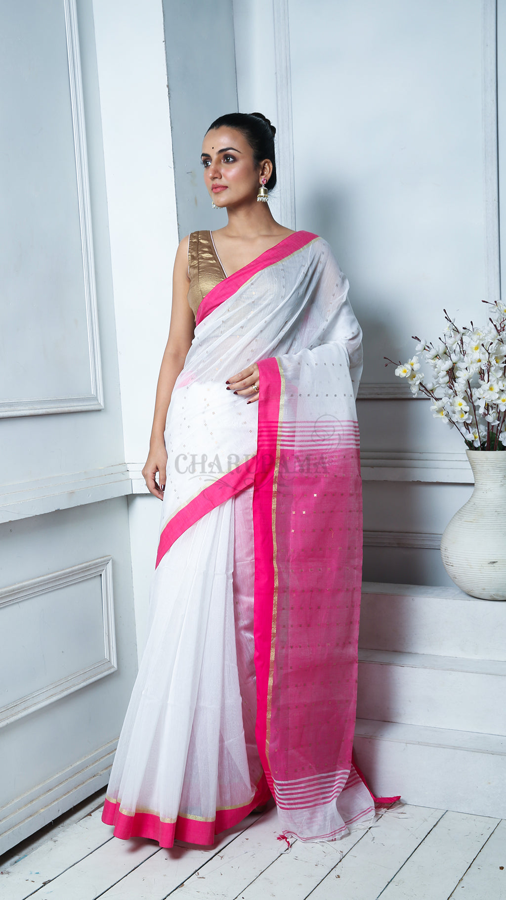 White Sequined Blended Cotton Saree With Magenta Border And Pallu