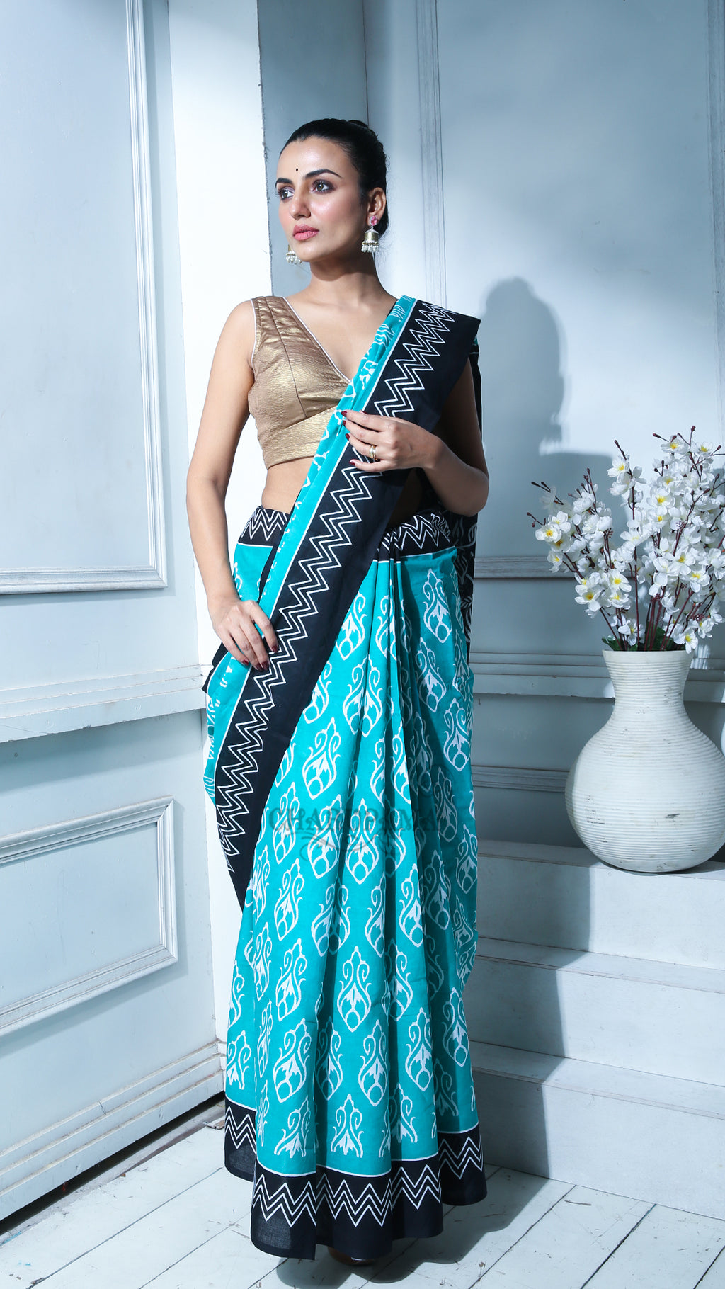 Teal Blue Geometric Printed pure Cotton Saree