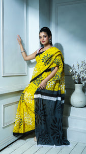 Yellow And Pebble Grey Floral Printed Pure Cotton Saree