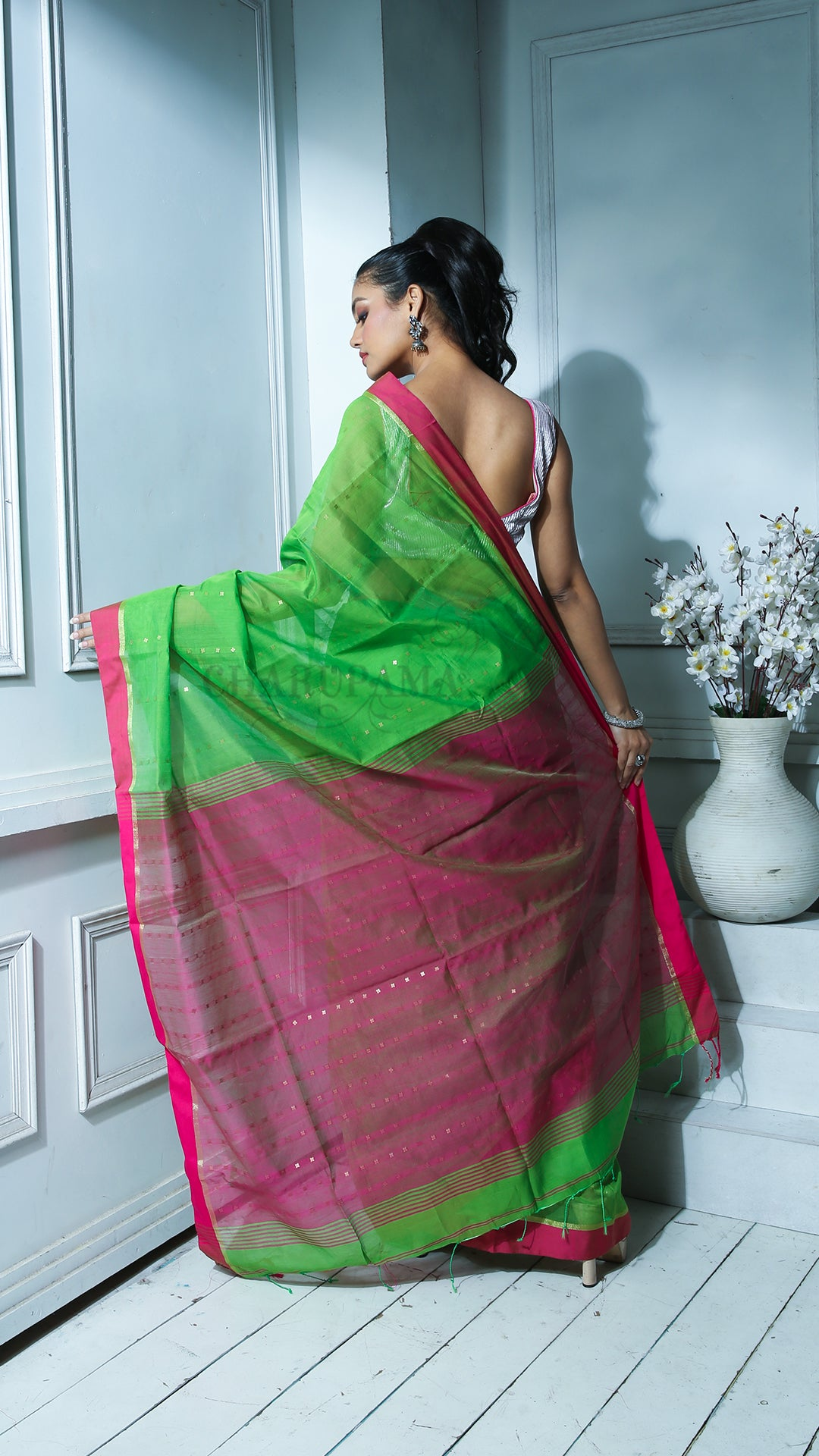Sap Green Sequined Blended Cotton Saree With Magenta Border And Pallu