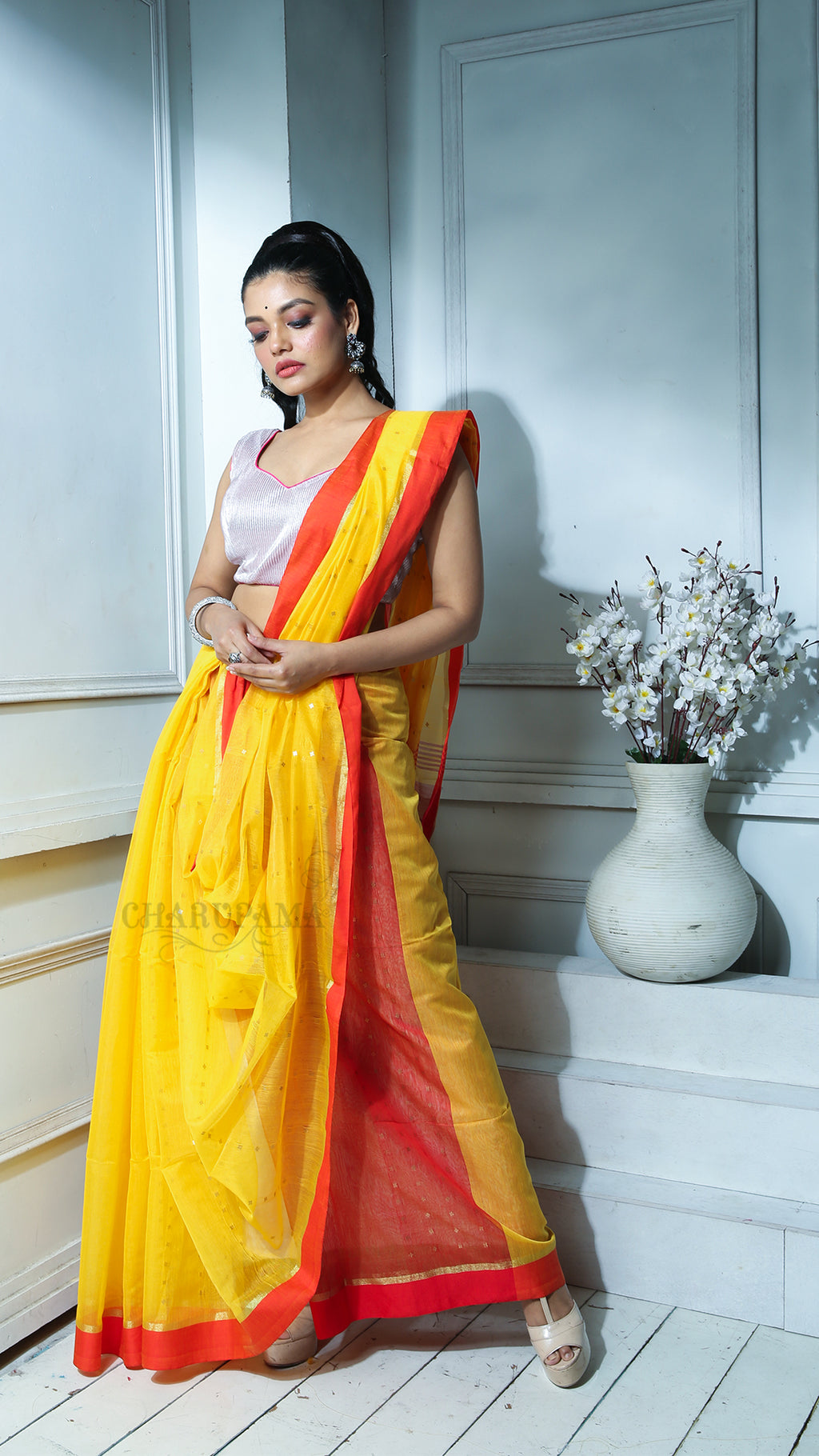 Yellow Sequined Blended Cotton Saree With Red Border And Pallu