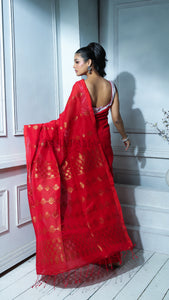 Red Organic Linen With Zari Work And Pallu