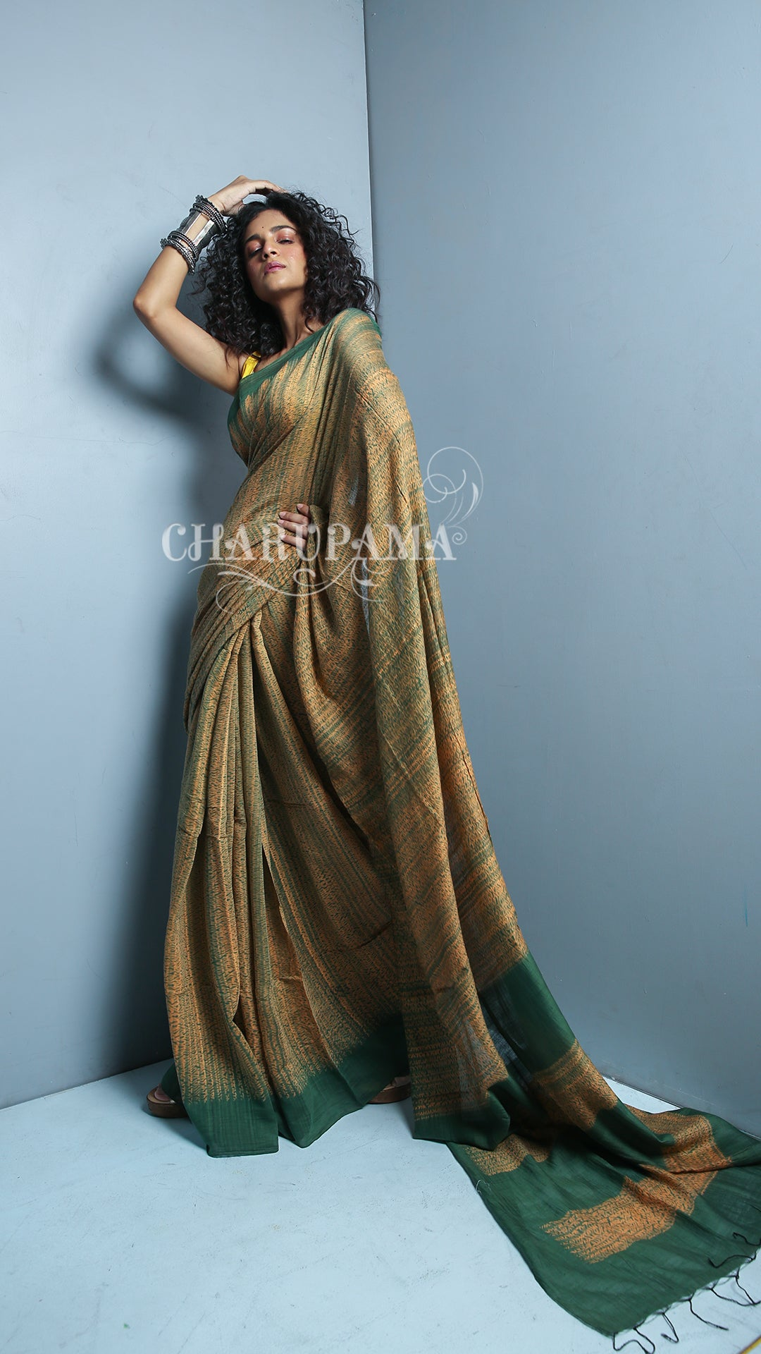 Sandalwood Silk Cotton Saree With Shibori Print And Bottle Green Pallu