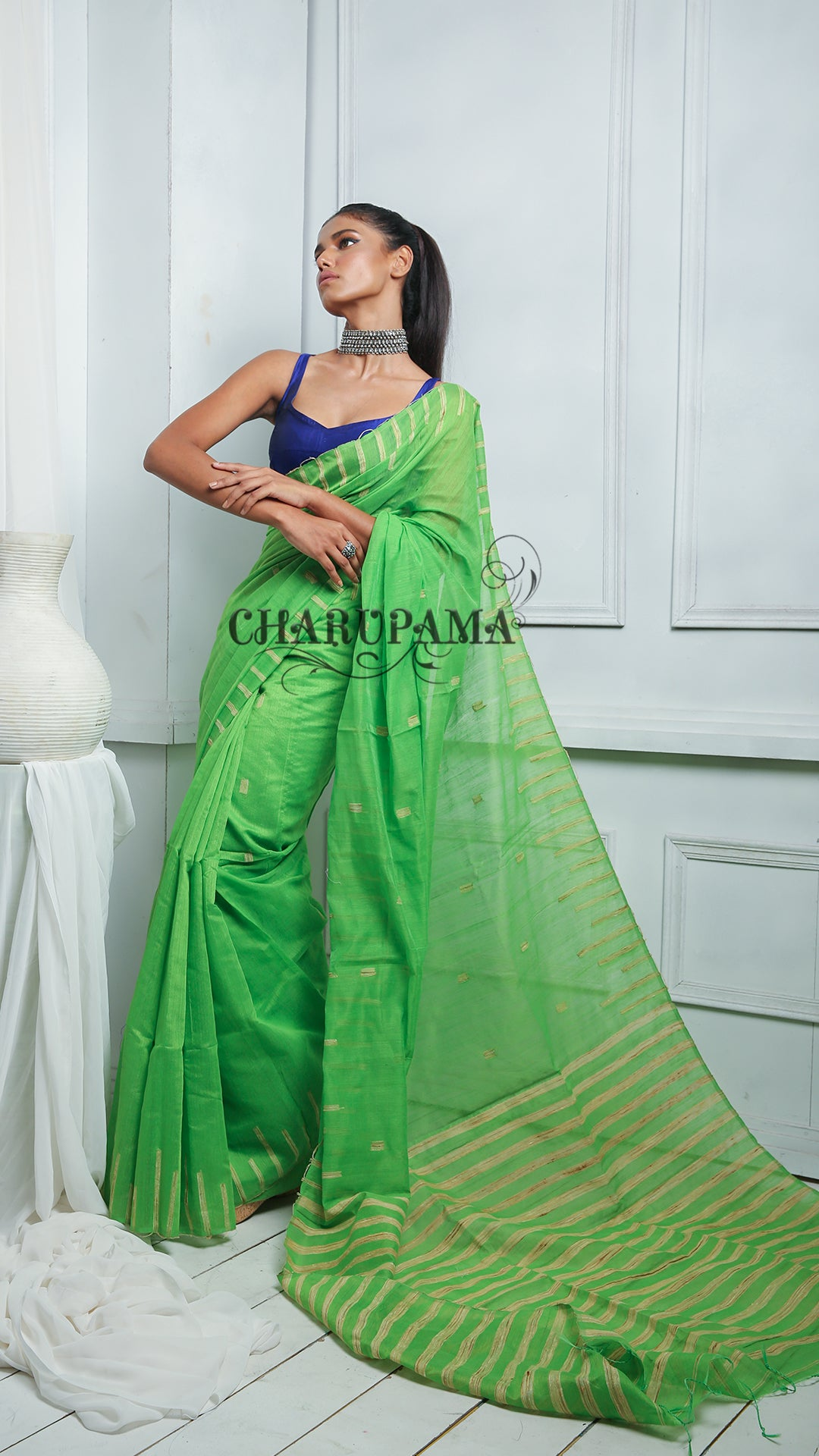 This Green Blended Cotton Saree Has The Comfort Factor For Daily Wear And Easy Home Care. Ghicha Pallu And Ghicha Work In Body Are Added Feature - Charupama